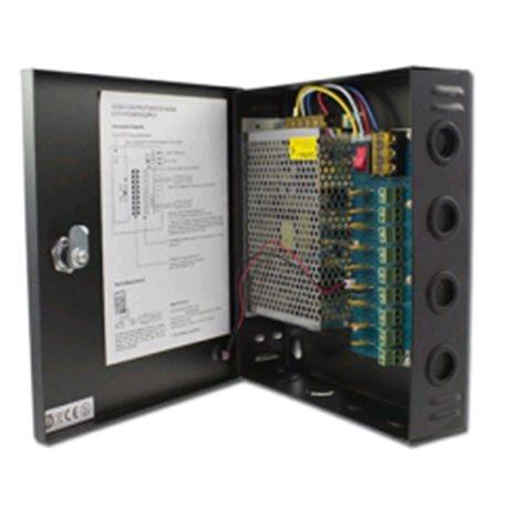 9-kanaals voedingskast met auto reset functie, 12V 10A