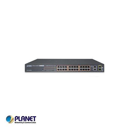 "Planet PT-FGSW-2624HPS 19"" 24 poort switch / 24*Hi PoE / 4 Gigabyte - 2/2TP/SFP poorten"