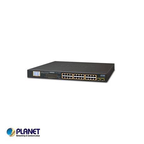 PLANET GSW-2620VHP 24-Port Gigabit 250M PoE + 2-Upload port Switch met LCD Monitor, VLAN