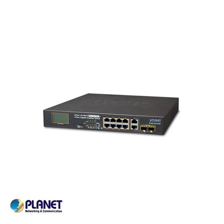 Planet PT-FGSD-1022VHP 8-Port 10/100TX 802.3at PoE + 2-Port Gigabit TP/SFP combo Desktop Switch with LCD PoE Monitor