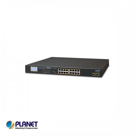16-Port Gigabit 250M PoE + 2-upload port, LCD Monitor, VLan