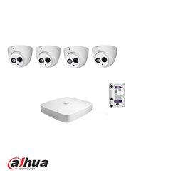 Dahua HDCVI kit 4 kanalen DVR incl 1 TB HDD en 4 pignose camera's 2MP met IR