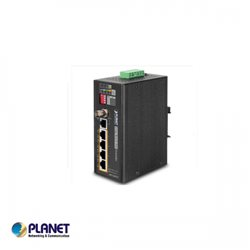 IP30, Industrial 4-Port 10/100TX POE PSE + 1-Port Coax/UTP Long Reach POE Extender